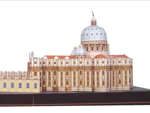 maquete de papel basílica são pedro, imprima, corte e cole
