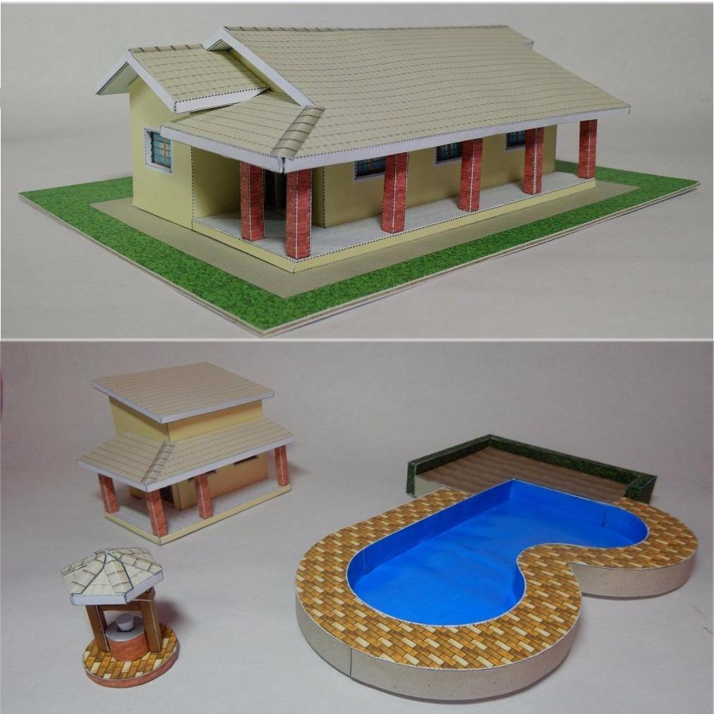Maquete p recortar e montar esc 1 87 casa campo piscina po o r 55 00 em mercado livre - Piscinas de montar ...
