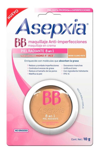 maquillaje asepxia bb fps 15 beige mate 10g genomma lab