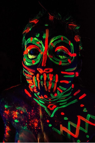 maquillaje fluor neón ideal fiestas glow caritas pintadas