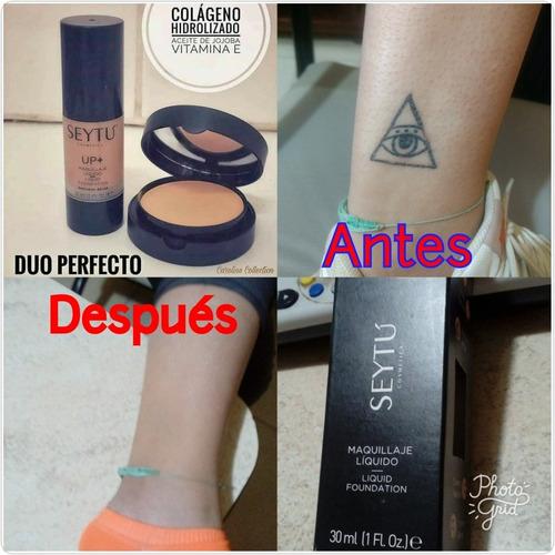 maquillaje líquido + polvo compacto tapa tatuaje