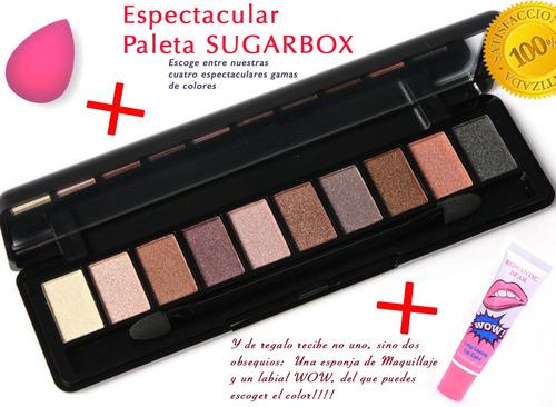 maquillaje paleta de sombras profesional sugarbox 10 colores