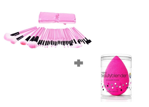 maquillaje set de 24 brochas + gratis beauty blender regalo