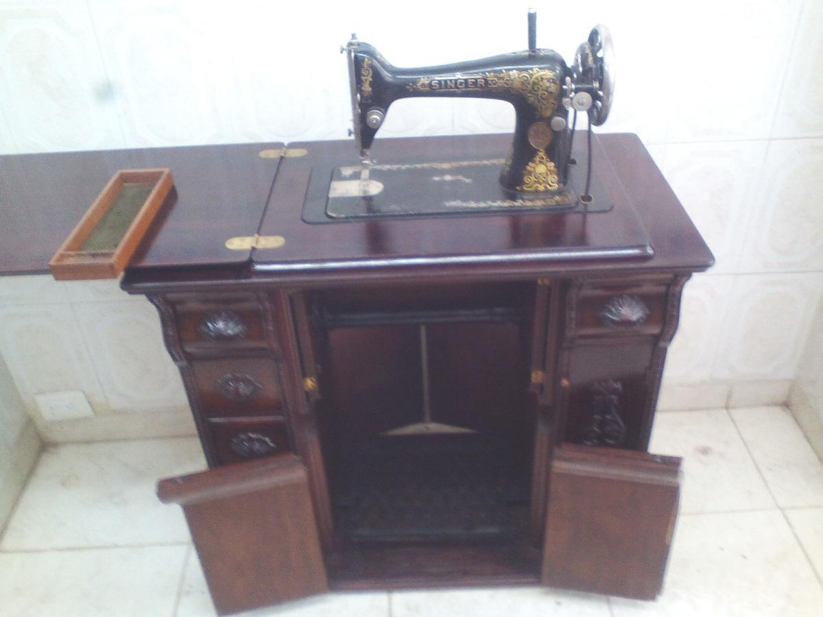 Maquina Antigua De Coser Singer 1910 Mueble Talla En Roble