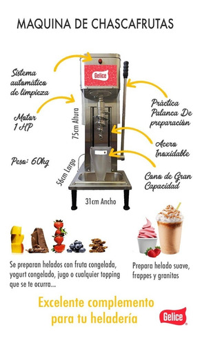 maquina chascafrutas gelice helado suave yogurt