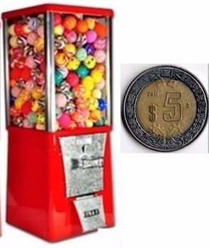 maquina chiclera  $5 + 250 pelotas botonas
