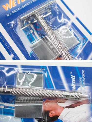 maquina clásica afeitar de seguridad +5 cuchillas doble filo