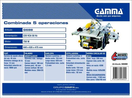 maquina combinada 5 operaciones gamma 1hp g688 carpinteria