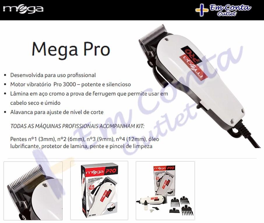 36c067a57 Máquina De Cortar Cabelo Mega Pro 3000 At77xp Profissional - R  205 ...