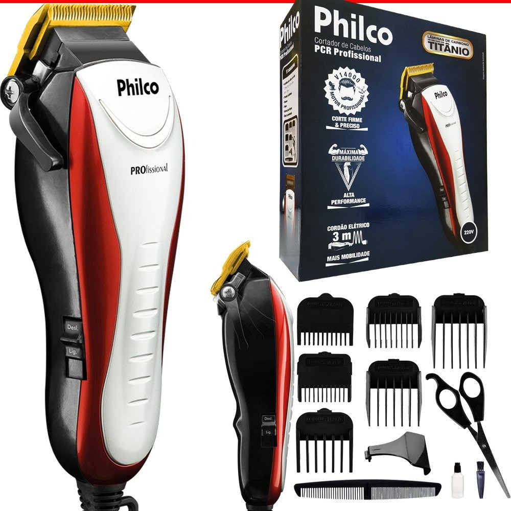 Máquina Cortar Cabelo Barba Pcr Profissional Philco 3m 110v