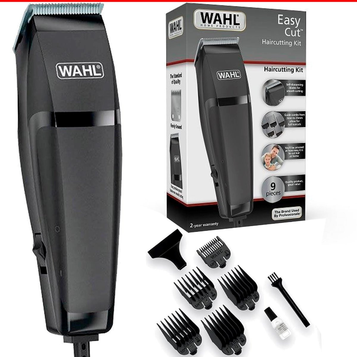 Máquina Cortar Cabelo Barba Wahl Clipper Easy Cut Preto 220v