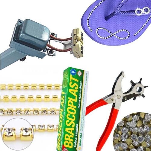 maquina cortar frisar chinelos + kit material + itens reposi
