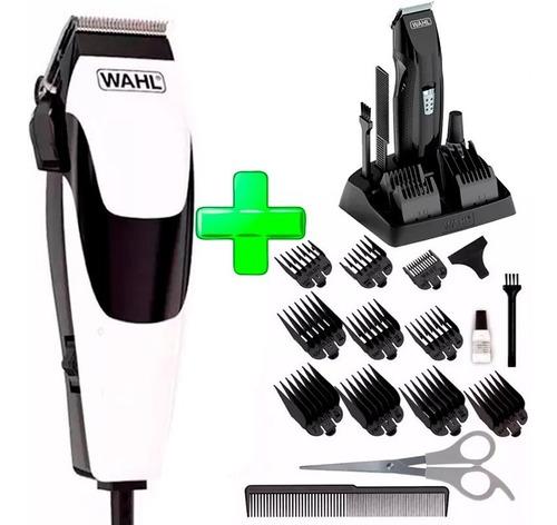 maquina cortar pelo quick cut 16 piezas + easy trim barba wahl
