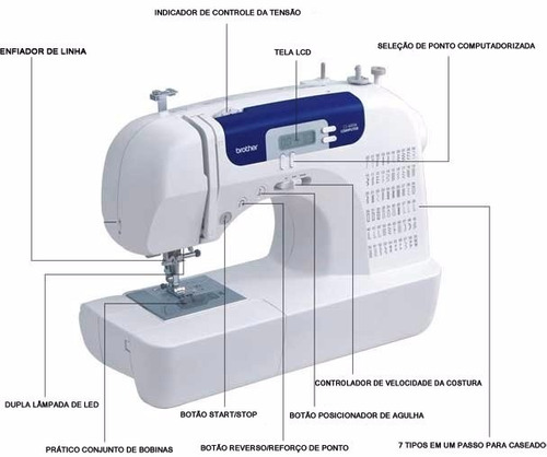 máquina coser brother cs 6000i + 6 conos hilo 455m maxmark