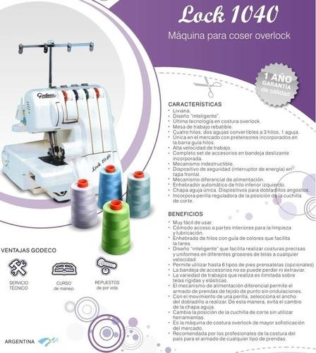 maquina coser overlock godeco lock 1040 - luico hogar