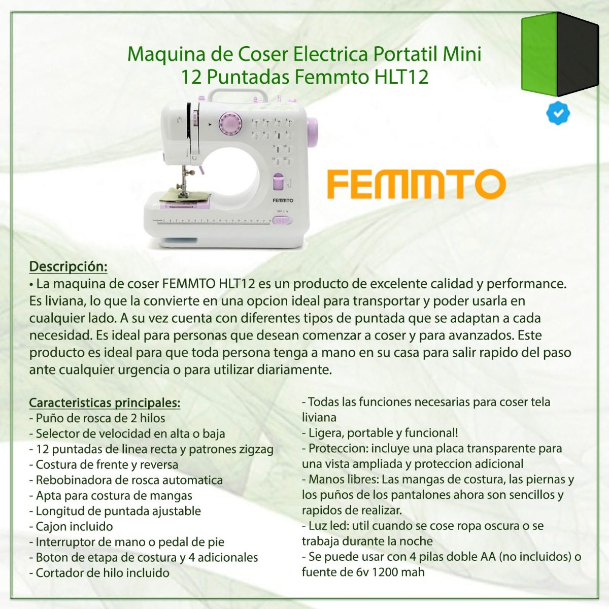 Maquina Coser Portatil 12 Puntadas Femmto Hlt12 C/ Fuente