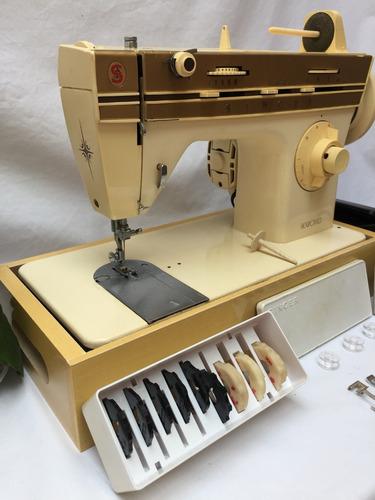 maquina costura singer 240 flexiponto dourada com acessórios