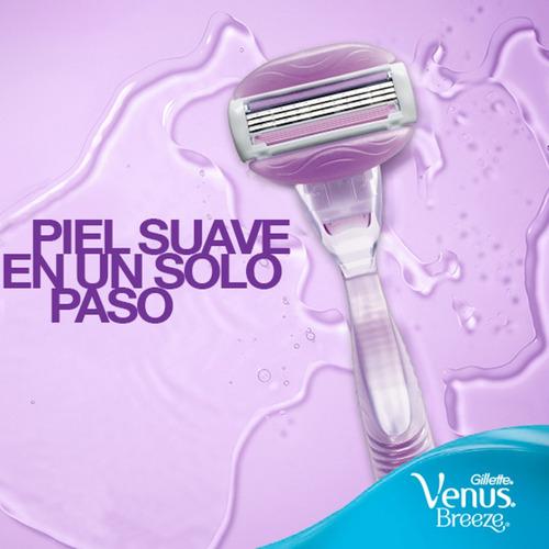 maquina de afeitar gillette venus breeze + 4 repuestos