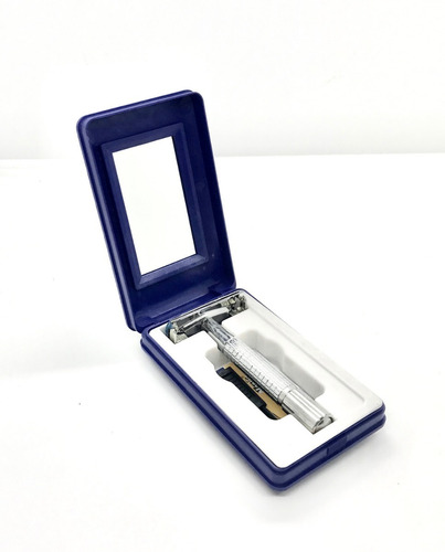 máquina de afeitar metálica nueva para hojas gillette estilo antigua - distr. oficial