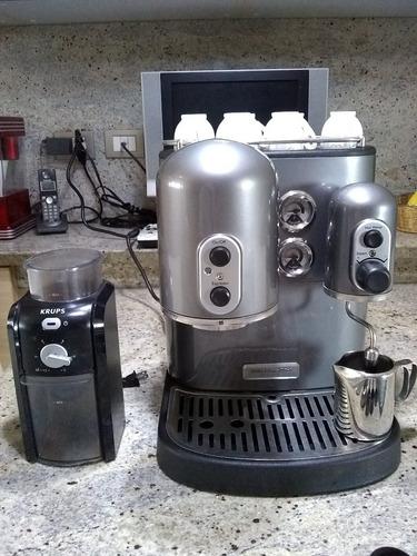 maquina de cafe expreso espresso kitchen aid + molino krup