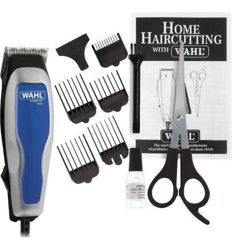 máquina de cortar cabelo wahl 127v home cut basic prata/azul