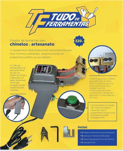 maquina de cortar e frisar chinelos 220v - com guia e manual