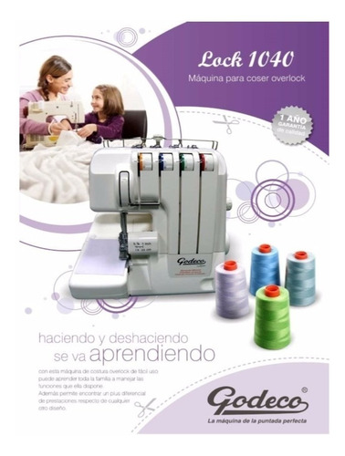 maquina de coser lock 1040 (overlock) godeco