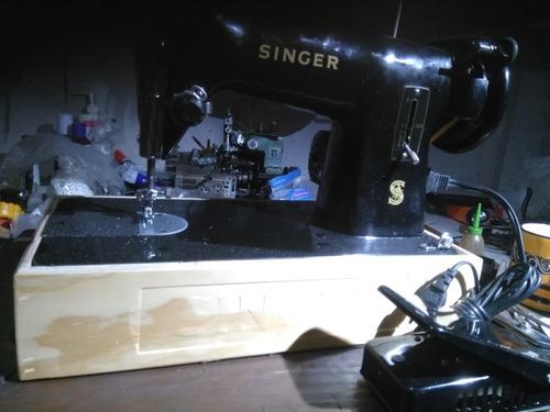 máquina de coser recta con rematé singer antigua en perfecto
