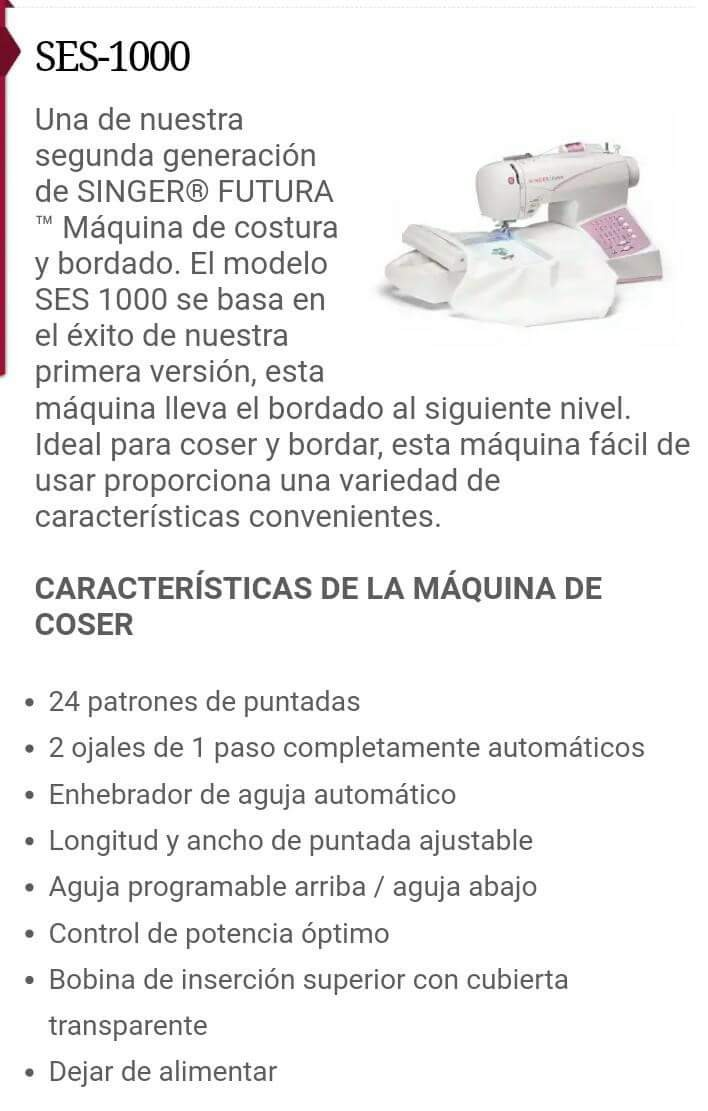 Maquina De Coser Y Bordar Singer Futura Ses 1000 - $ 7,000.00 en ...