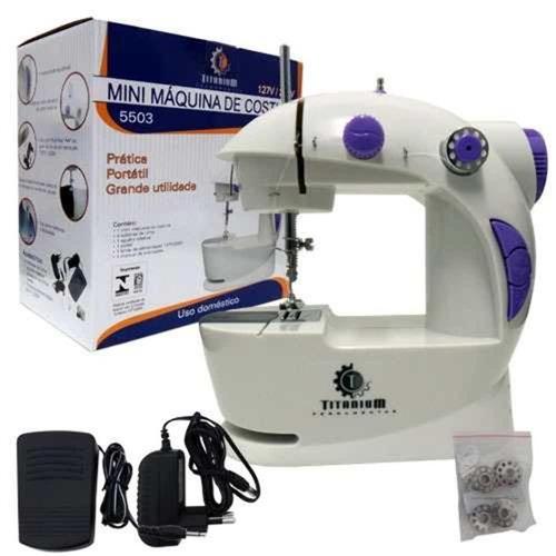 maquina de costura portatil bivolt com bobinas, agulha reser