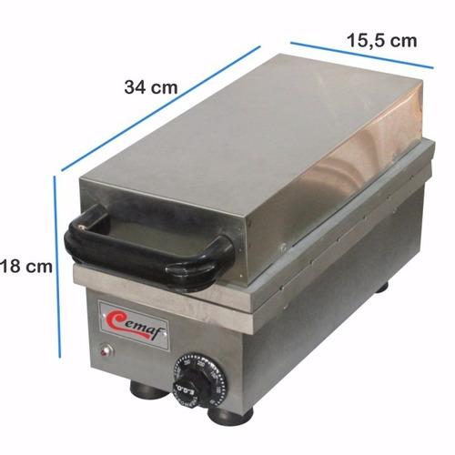 máquina de crepes suíços no palito 6 cavidades 220v inox