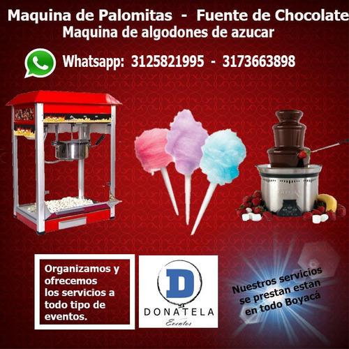 maquina de crispetas, fuente de chocolate y mas en boyacá
