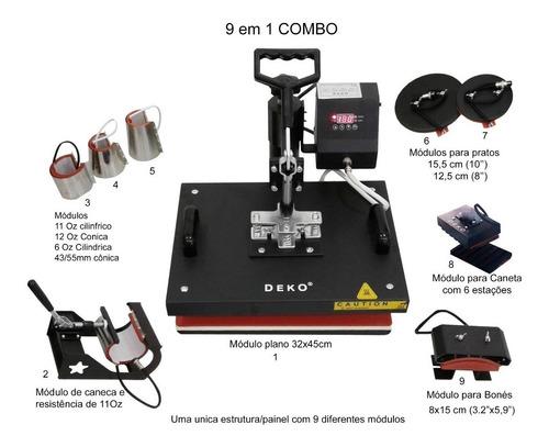 maquina de estampar camisetas caneca 9em1 prensa termica a3