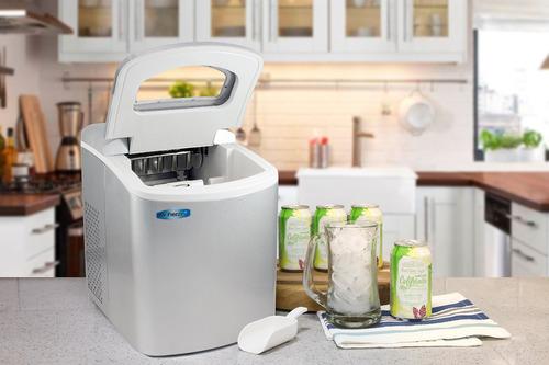 máquina de hacer hielo automática portátil con tapa plata