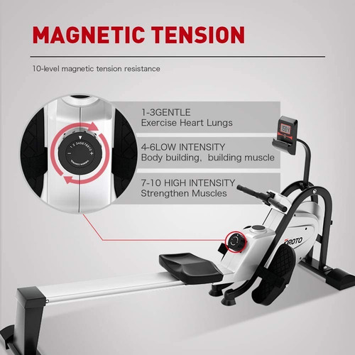 máquina de remo magnética 10 niveles plegable joroto mr35
