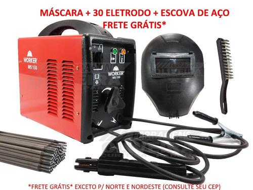 maquina de solda 150a + máscara de solda + eletrodo + escova