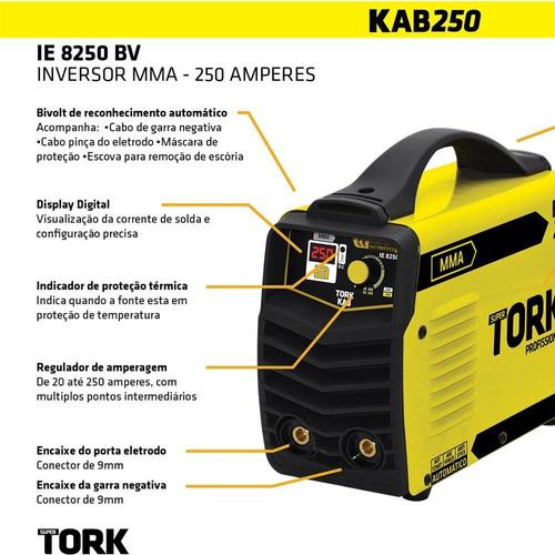máquina de solda inversor kab 250 a bv - tork ie-8250-bv