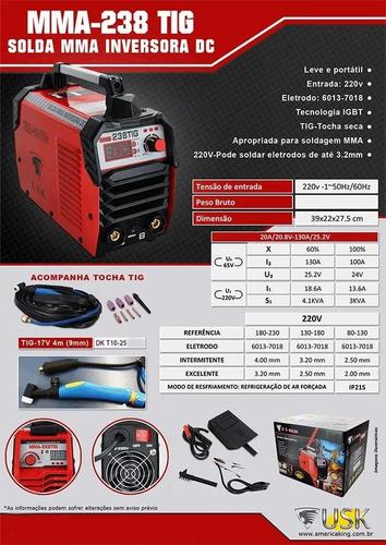 maquina de solda inversora 238 tig c/ tocha 220v usk-1301