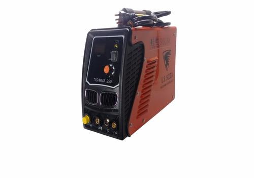máquina de solda inversora tig mma-250a display digital 220v