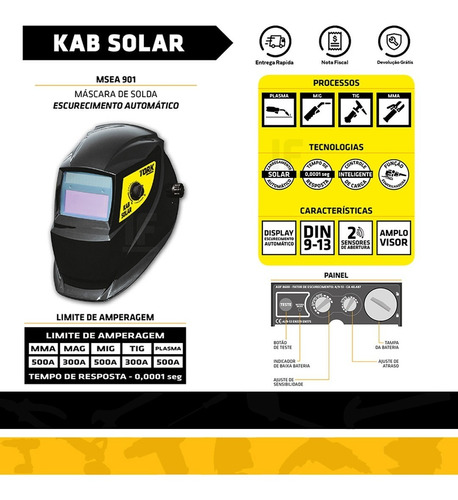 maquina de solda kab-180 super tork bivolt + mascara automat