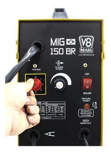 máquina de solda mig 150br sem uso de gás 220v v8brasil