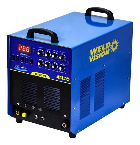 máquina de solda tig alumínio 250 trifásica weld vision