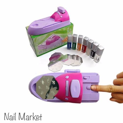 maquina estampadora de sellos de uñas +tintas+placas