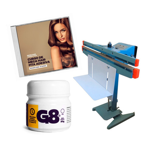 maquina fabricaçao mega hair fita adesiva+dvd+cola g8