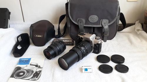 maquina fotografica analógica canon eos55 lentes 70-300 e 28