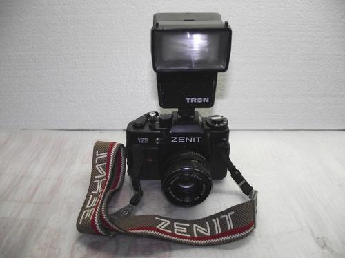 maquina fotografica analogica zenit 122 com flash tron s350