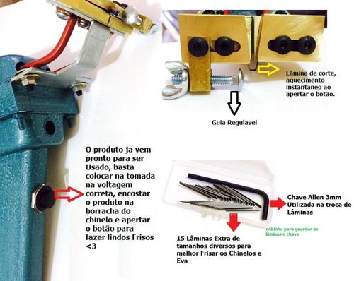 maquina frisador chinelos sandália eva 110v + strass + cola