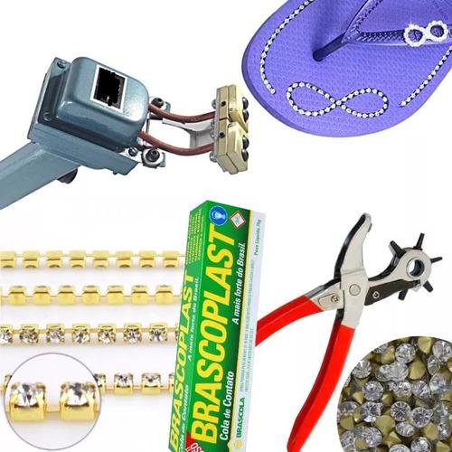 máquina frisador de chinelos + kit materiais