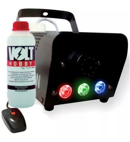 máquina fumaça 600w iluminação led rgb controle + líquido
