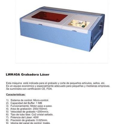 maquina laser co2 40w grabado y corte plotter impresion usb